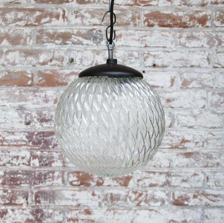 Czech Clear Globe Glass Vintage European Bakelite Top Pendant Lights For Sale