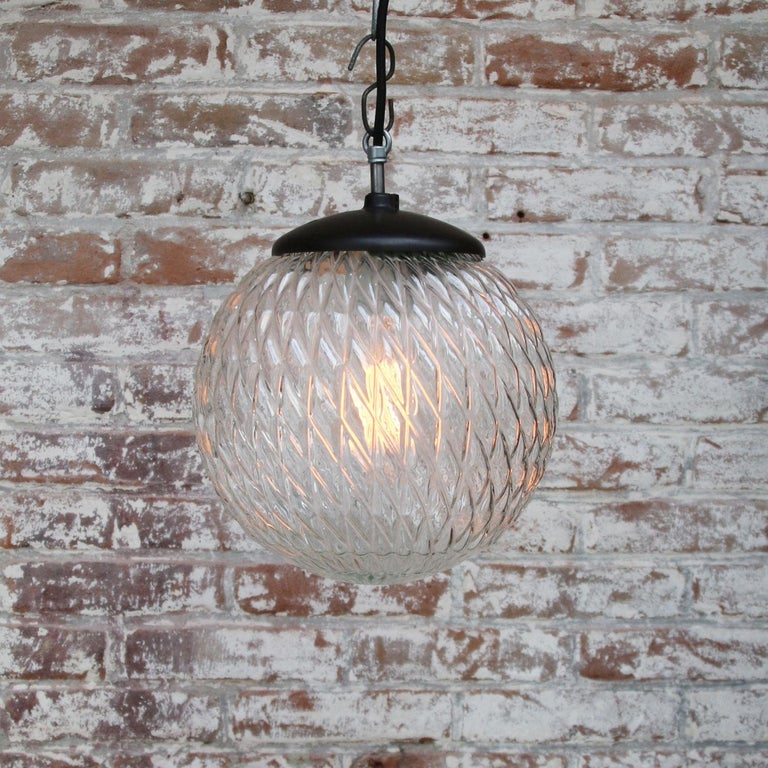 Clear Globe Glass Vintage European Bakelite Top Pendant Lights In Good Condition For Sale In Amsterdam, NL