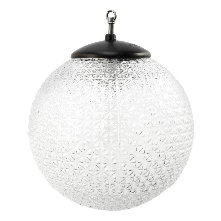 Clear Globe Glass Vintage European Bakelite Top Pendant Lights For Sale