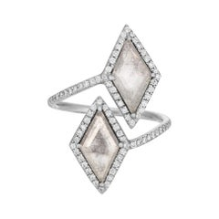 Clear Gray Diamond Slice Wrap Ring with Diamond Halo in 18k Matte White Gold