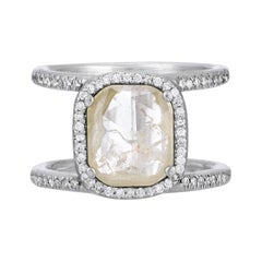 Clear Gray Double Band Diamond Halo Ring in 18k Matte White Gold