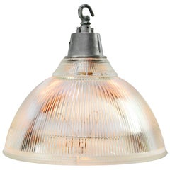 Clear Holophane UK Glass Vintage Industrial Metal Top Pendant Light