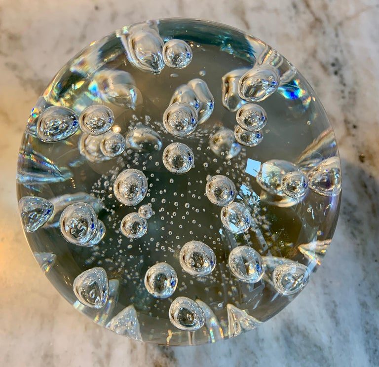 Paper weight, Italian Murano hand blown glass with bubbles, a wonderful compliment to any desk.