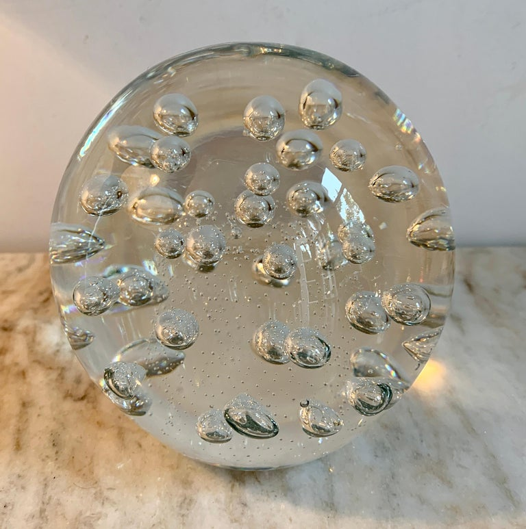 Mid-Century Modern Clear Italian Murano Glass Paper Weight with Bubbles For Sale