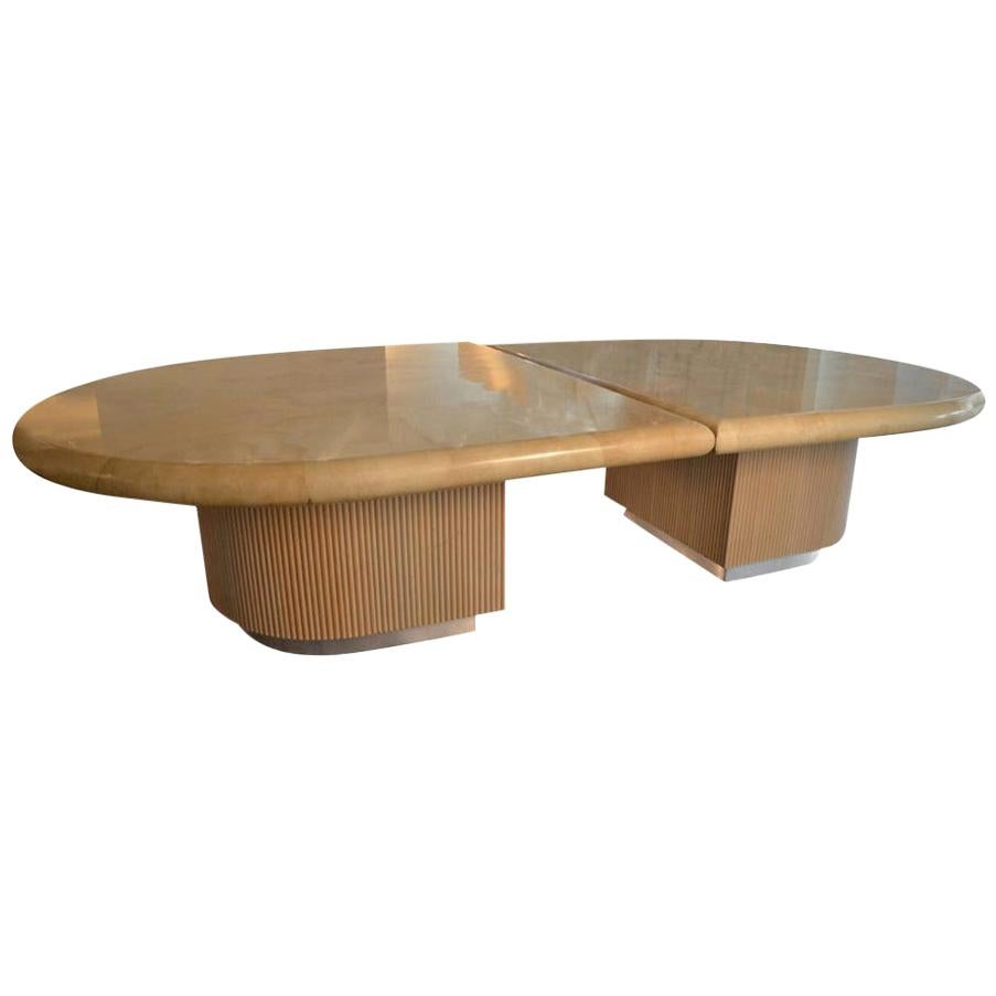 Clear Lacquered Goatskin Tops w/ Wood and Metal Bases Dining or Conference Table