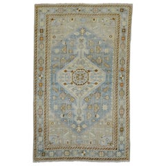 Clear Light Blue Ivory Antique Persian Malayer Rug