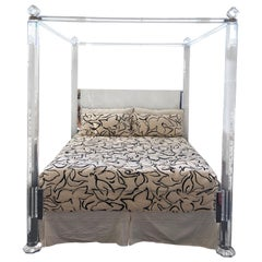 Clear Lucite and Brass King Size Canopy Bed