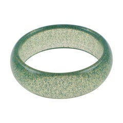 Clear Lucite Bracelet Bangle Turquoise Metallic Confetti Inclusions