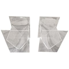 Clear Lucite Side Tables with Magazine Holder or Storage, a Pair