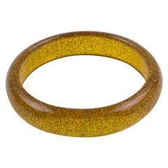 Clear Marigold Lucite Bracelet Bangle Gold Metallic Confetti Inclusions