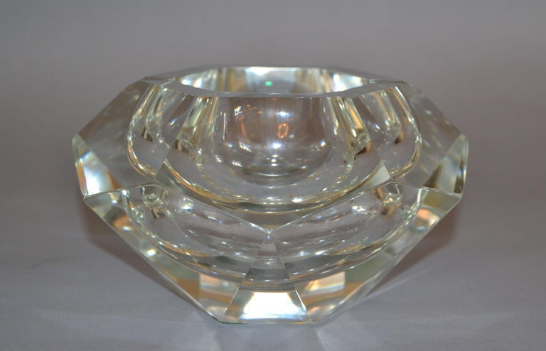 Multi faceted transparent Sommerso Murano glass ashtray, glass bowl, catchall attributed to Flavio Poli. Clear glass and a highly decorative twelve faced geometric design.