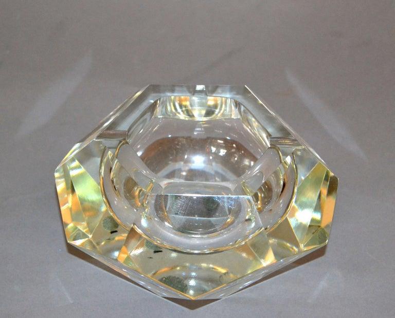 Italian Clear Multi Faceted Murano Glass Ashtray, Bowl Attributed to Flavio Poli, Italy For Sale