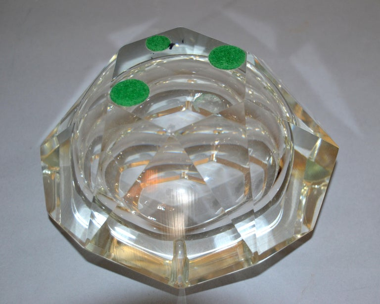 20th Century Clear Multi Faceted Murano Glass Ashtray, Bowl Attributed to Flavio Poli, Italy For Sale