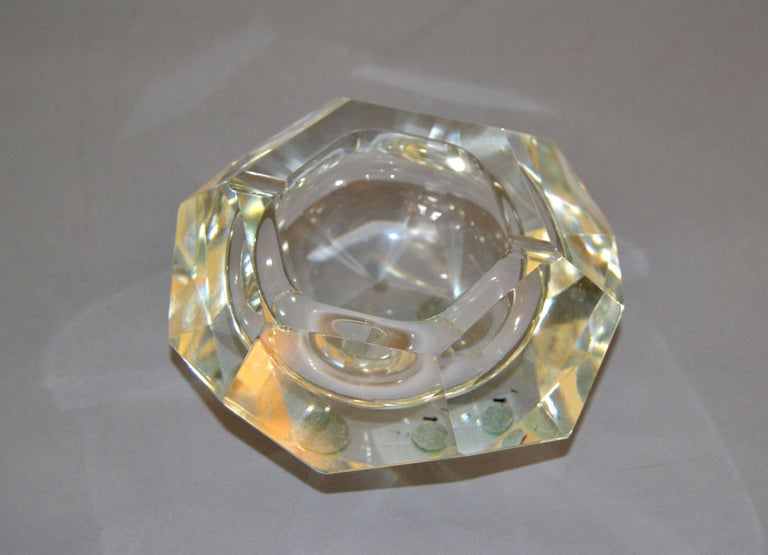 Clear Multi Faceted Murano Glass Ashtray, Bowl Attributed to Flavio Poli, Italy For Sale 1