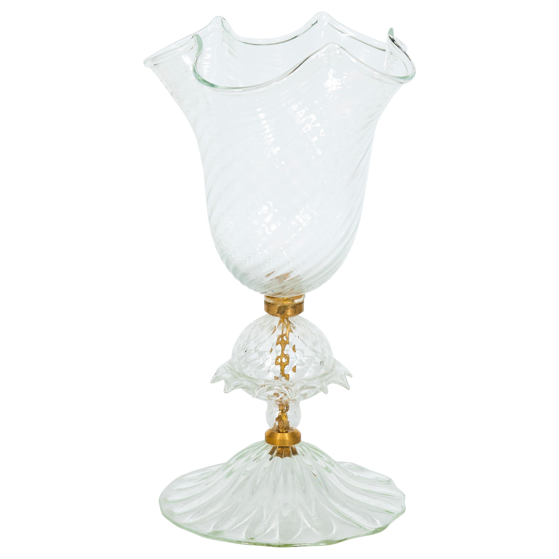 Clear Murano Glass Handkerchief Vase with Morise, Giovanni Dalla Fina, 1990s