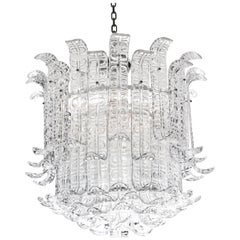 "Clear Murano Glass ""Ricci"" Chandelier in the Style of Barovier Toso, Italy"