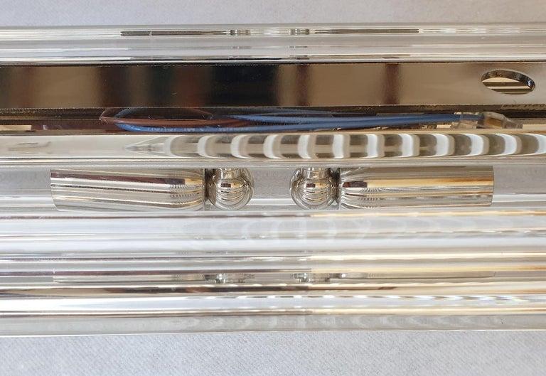 Clear Murano Triedri Glass/Chrome Mid-Century Modern Sconces, Venini Italy 1980s For Sale 4