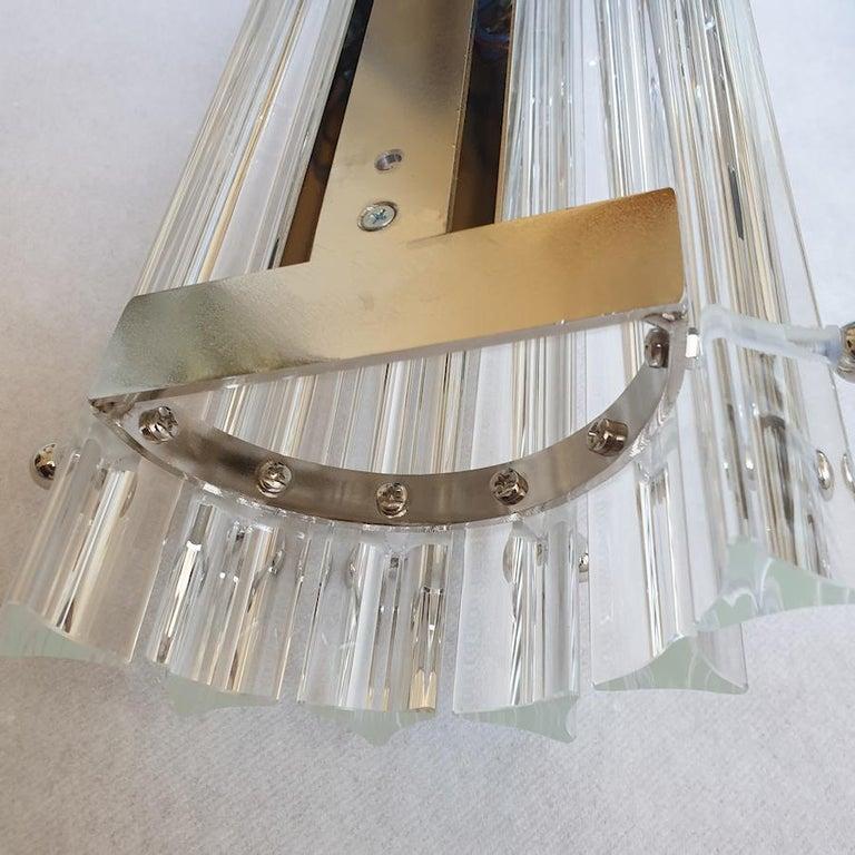 Clear Murano Triedri Glass/Chrome Mid-Century Modern Sconces, Venini Italy 1980s For Sale 5