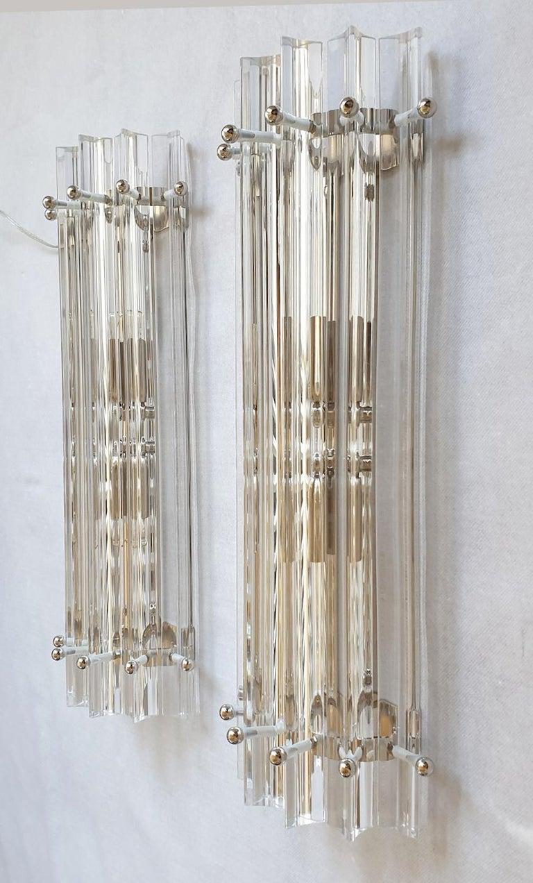 Italian Clear Murano Triedri Glass/Chrome Mid-Century Modern Sconces, Venini Italy 1980s For Sale