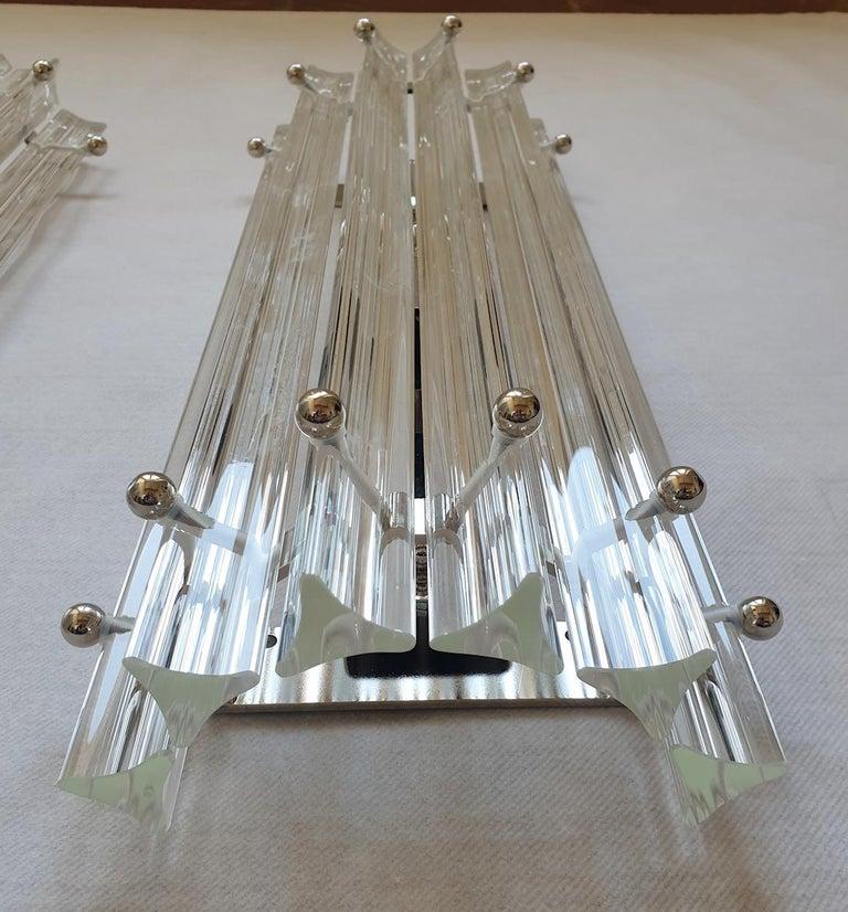 Clear Murano Triedri Glass/Chrome Mid-Century Modern Sconces, Venini Italy 1980s For Sale 1