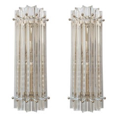 Clear Murano Triedri Glass/Chrome Mid-Century Modern Sconces, Venini Italy 1980s
