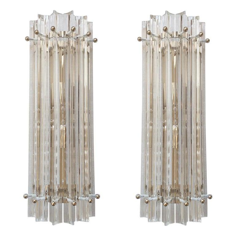 Clear Murano Triedri Glass/Chrome Mid-Century Modern Sconces, Venini Italy 1980s For Sale
