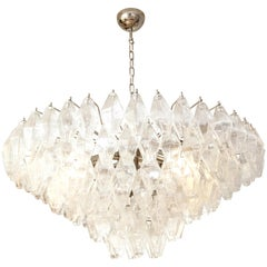 Clear Polyhedral Murano Glass Chandelier