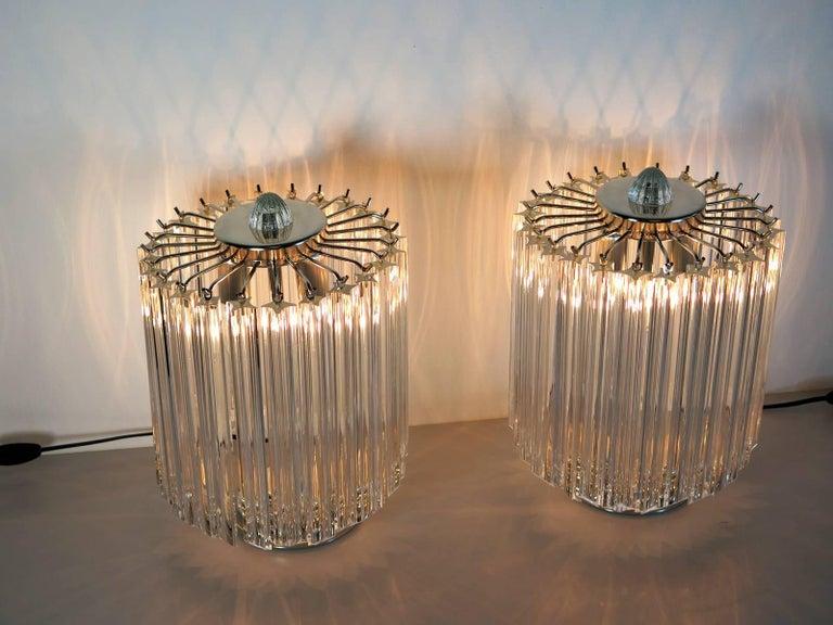 Mid-Century Modern Clear Quadriedri Table Lamp, Venini Style For Sale