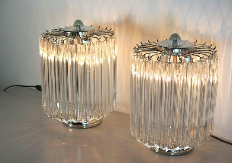 Italian Clear Quadriedri Table Lamp, Venini Style For Sale