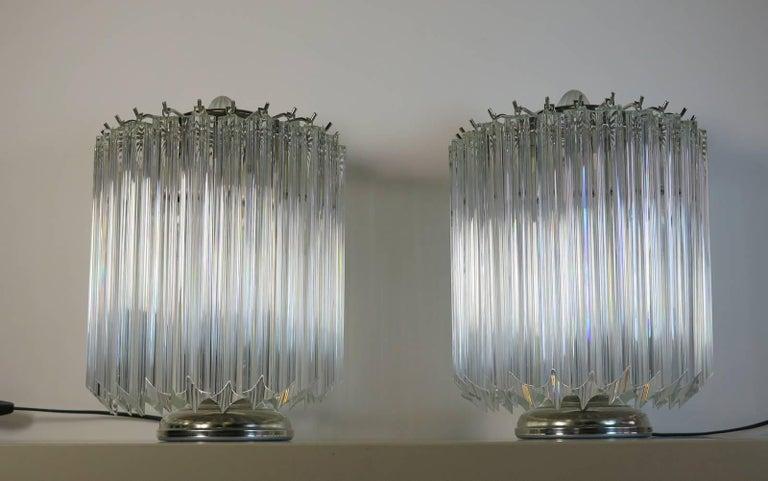 Clear Quadriedri Table Lamp, Venini Style In Good Condition For Sale In Gaiarine Frazione Francenigo (TV), IT