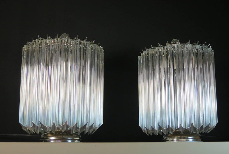 Late 20th Century Clear Quadriedri Table Lamp, Venini Style For Sale