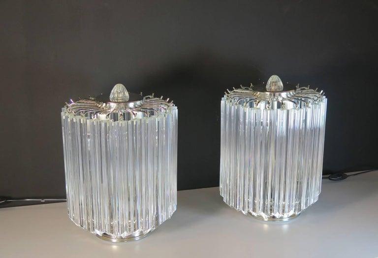 Blown Glass Clear Quadriedri Table Lamp, Venini Style For Sale