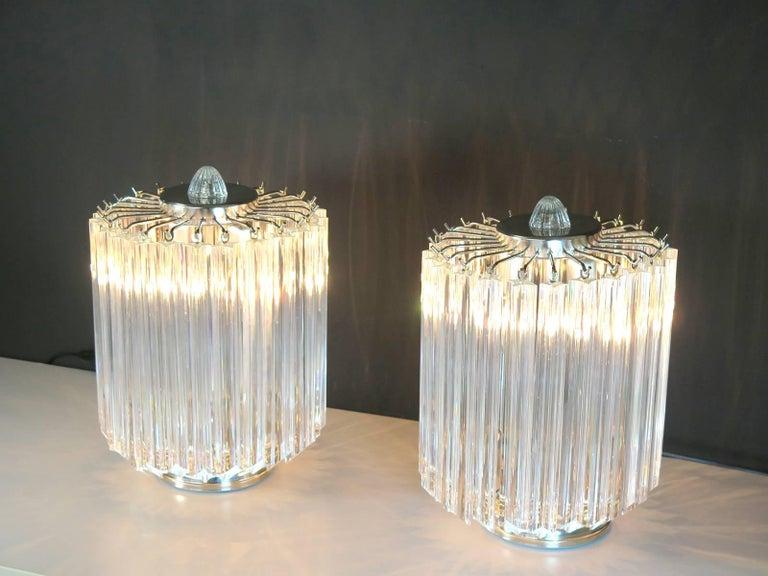 Clear Quadriedri Table Lamp, Venini Style For Sale 1