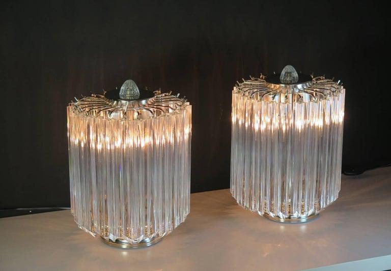 Clear Quadriedri Table Lamp, Venini Style For Sale 2