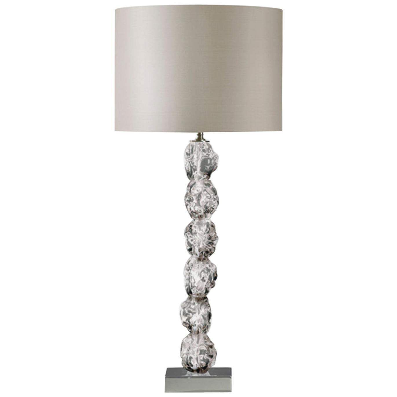 Clear Raw Crystal Glass Table Lamp with Silk Lamp Shade