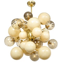 Clear Smoked and Ivory Murano Glass and Brass Sputnik Chandelier, Italy, 2020