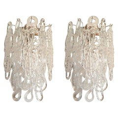 Clear Spaghetti Murano Glass Sconces, Mid-Century Modern, by Mazzega, 1970s