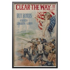 """""""Clear the Way !!"""" Fourth Liberty Loan Poster by Howard Chandler Christy, 1919"""