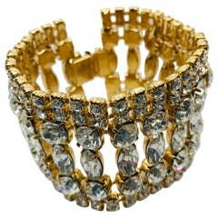 Clear Vintage Swarovski Crystal Flex Cuff Bracelet