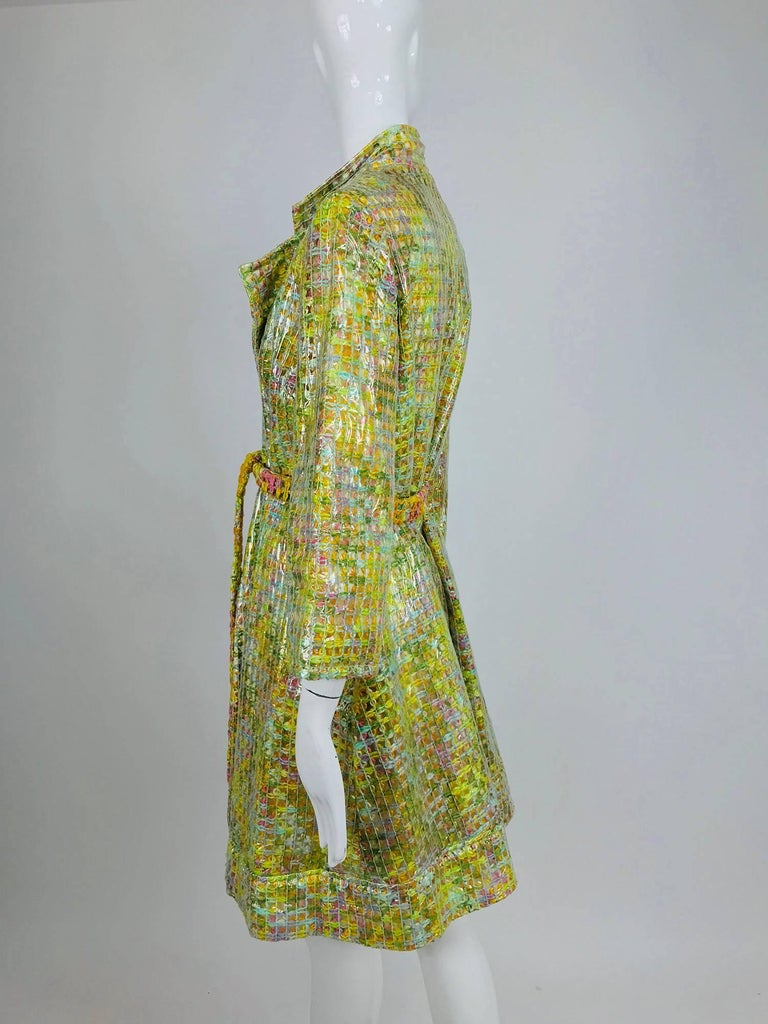Clear vinyl covered tweed novelty rain coat with belt 1960s For Sale 6