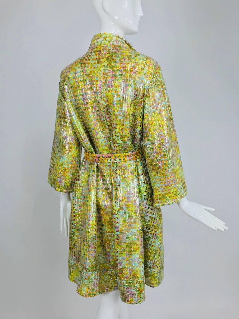 Clear vinyl covered tweed novelty rain coat with belt 1960s For Sale 7