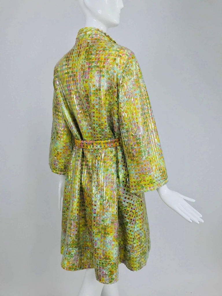 Clear vinyl covered tweed novelty rain coat with belt 1960s For Sale 8