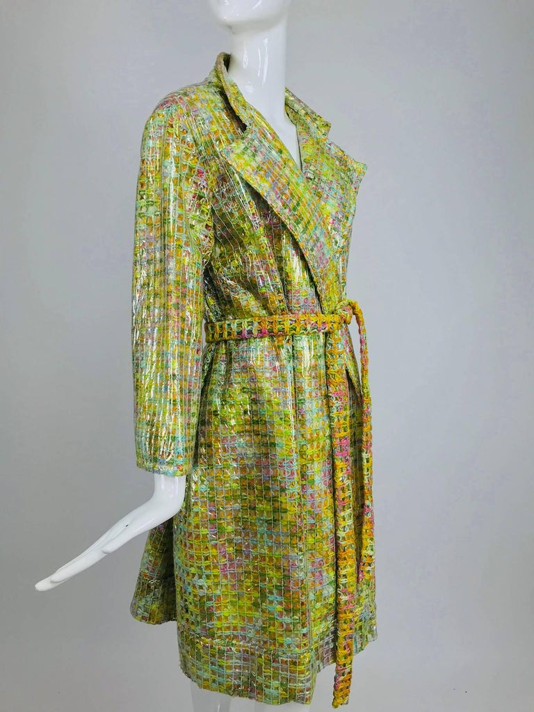 Clear vinyl covered tweed novelty rain coat with belt 1960s For Sale 11