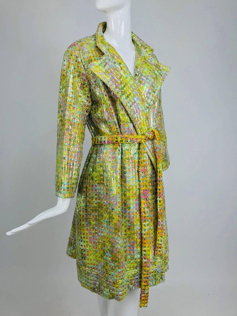 Clear vinyl covered tweed novelty rain coat with belt 1960s For Sale 13