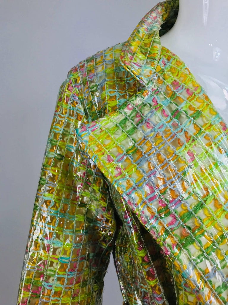 Brown Clear vinyl covered tweed novelty rain coat with belt 1960s For Sale