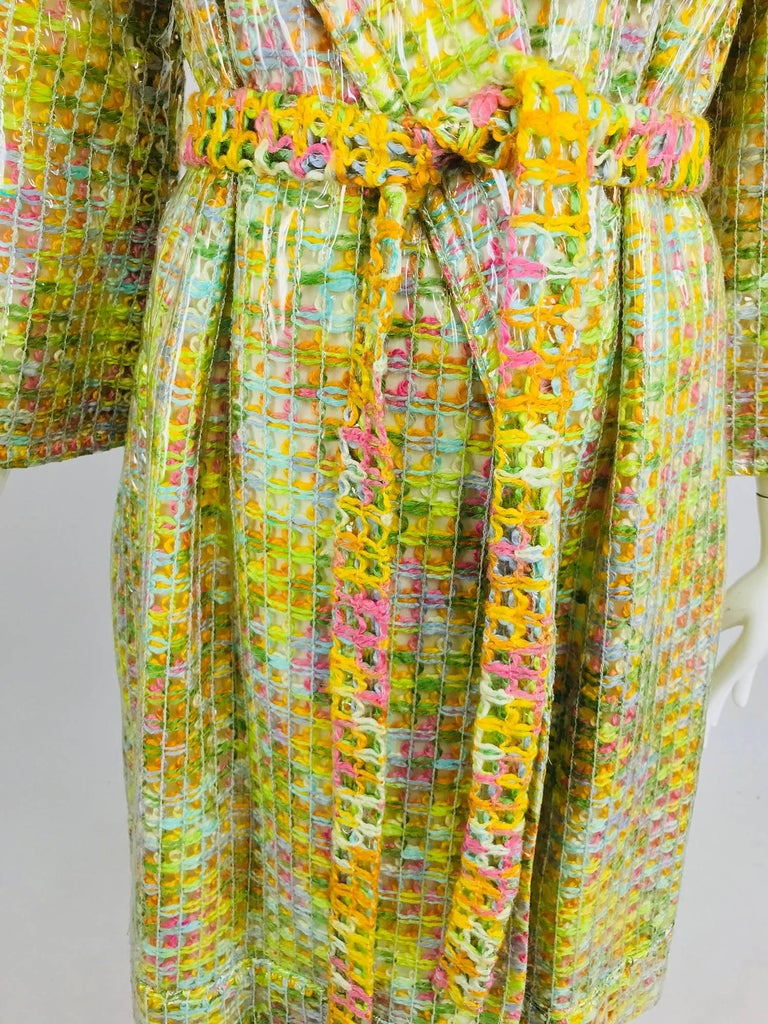 Women's Clear vinyl covered tweed novelty rain coat with belt 1960s For Sale