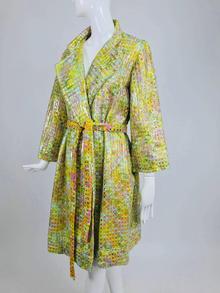 Clear vinyl covered tweed novelty rain coat with belt 1960s For Sale 1
