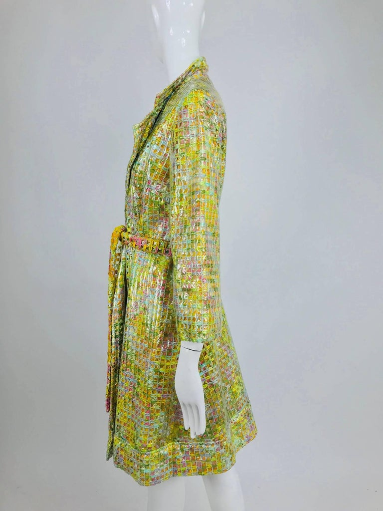 Clear vinyl covered tweed novelty rain coat with belt 1960s For Sale 5