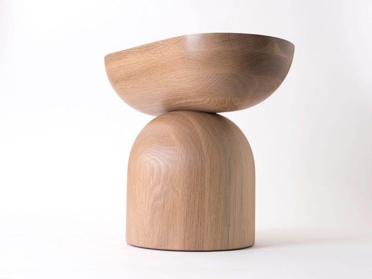 Hand-Crafted Cleave Side Table, Contemporary Sculptural Solid Wood End Table For Sale
