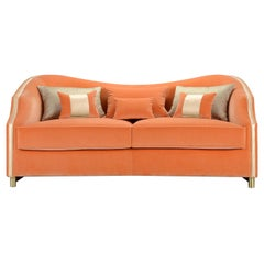Cleio Orange 2-Seater Sofa